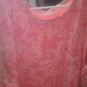 Woman Within Ladies Pink Floral shirt